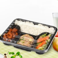 Wholesale Plastic Disposable Food Containers - 22*19*4.5Cm Disposable Lunch Box Plastic Food Container Square Separate 3 4 5 Parts Take Away Black White Microwaveable Supplies 500Pcs Case