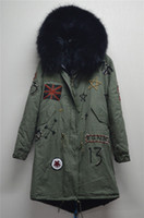 Wholesale Embroidery Fur Coat - Lavish black fur Mr Mrs FURS amry Beading coats with Embroidery USA flag Mr & Mrs Italy Fur-lined canvas parka Drawstring waist