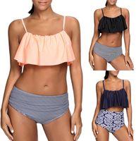 Wholesale Cute Plus Size Bathing Suits - 2017 Sexy Women High Waist Bikini Set Ruffle Vintage Swimsuit Bandage Striped Bottom Cute Bathing Suits Plus Size