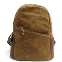 Wholesale Han Edition Leather Backpack - new vintage retro genuine leather canvas bag Han edition tide canvas schoolbag student backpack unisex manufacturers DHL free shipping