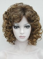Wholesale Blonde Spiral Curly Wig - Wholesale free shipping >>>>2017 Elizabeth Womens Wigs Blonde mix Short Spiral Curly Fluffy wigs+wig cap