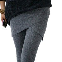 Wholesale Wholesale Mid Length Skirts - Wholesale- Gimnasio Hot Selling Aptitud Solid Legging Patchwork Faux Slim Fashion Casual Hip Skirt Ankle Length Two Piece Female Pure Color