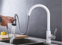 Wholesale Chrome Pull Out Kitchen Tap - Pull Out Sprayer Kitchen Faucet Chrome Deck Mounted 360 Degree Luxury White Hot and Cold Stream Water Mixer Bathroom Tap Sink