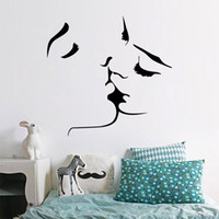 Wholesale People Religious - 2017 Hot Selling Romantic Kiss Wall Stickers Removable Wall Decal Home Decor New Design DIY Wall Stickers For Bedroom Decoration