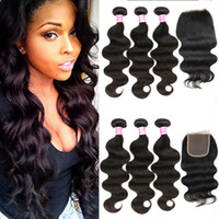 Wholesale Brazilian Hair Bundles Lace Top - Cosy Brazilian Virgin Hair Bundles with Closure Unprocessed Body Wave Human Hair Weave 3 Bundle Deals with Lace Top Closure Free Part