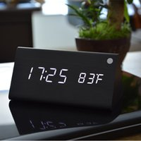 Compra L'orologio Di Temperatura Principale-isplay port dvi adaptor FiBiSonic Legno Digital Alarm LED in legno, Sound Control Orologi desktop con temperatura, display elettronico H ...