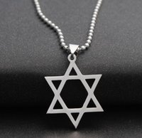 Wholesale Trendy Chain Necklaces For Women - Trendy Silver Hexagram Design Necklaces Star of David Charm Pendant Necklace With 50cm Chain For Men Women Wholesale Jewelry
