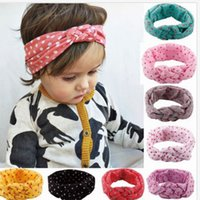 Wholesale Stretch Knit Headband - Children Hair Ornaments Europe and The United States Female Baby Knitting Cross Hair Belt Hand Peace Head Cotton Stretch