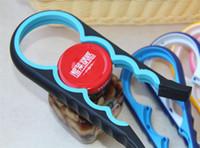 abrelatas de botella al por mayor-4 en 1 Abrelatas Abrebotellas multifunción Cocina Botella Llave de rosca Tapa de plástico en forma de calabaza Abrebotellas ABS 7 colores
