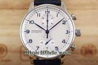 correas de reloj azul al por mayor-Oferta especial de alta calidad Portugieser IW371446 esfera blanca escala azul cuarzo cronógrafo reloj para hombre banda de cuero Relojes baratos