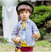 Wholesale French Style Clothes - Baby boys stripe shirts boys lapel cotton cute French fries printed shirt Infants pocket button front outwear baby kids clothes G0289