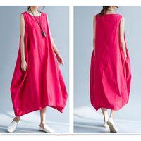 Wholesale Baggy Summer Dresses - 2017 New Summer Womens Casual Sleeveless Cotton Linen Loose Baggy Shirt Long Maxi Dress 2 Colors 4 Size