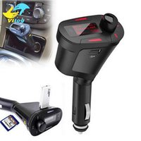 Wholesale mp3 player car audio adapter online - Mini Portable Car Kit MP3 Player Wireless FM Transmitter Auto Radio Adapter FM Modulator Stereo Audio Receiver LCD Color