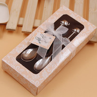 Wholesale Mini Spoons Dessert - Delicate couple coffee spoon tableware Creative mini coffee spoon Exquisite gift box hollow heart-shaped dessert spoon Wedding Supplies
