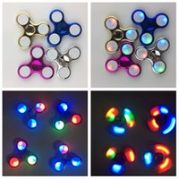 Wholesale Electroplate Battery - Metallic Bat Triangle Fidget Spinner Warriors Broncos Yankess Cubs Logo Led Electroplate Hand Spinner with Switch Replaceable Battery