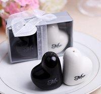 keramische babys großhandel-Kreatives Herz-geformtes Herr Mrs Salz- und Pfefferstreuer-Keramikglas, das Gaststätte Babypartygeschenke bevorzugt