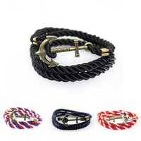 Wholesale Nautical Bracelet Rope - 10 Colors New Design Nautical Rope Bracelet with Bronze Anchor Shape for Decoration in Bulk WO01