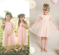 té vintage para niños al por mayor-Little Pink Toddler Vestidos para niñas de flores para bodas Manga corta Encaje Niños Desgaste formal Longitud del té Vestidos baratos para chicas de la vendimia