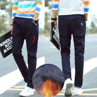 Wholesale Men S Brands Harem Pants - Wholesale- New Arrival Plus Velvet Winter Men Jeans Trousers Harem Pants Casual Denim Jeans Men Pants Mens Jeans Brand Luxury