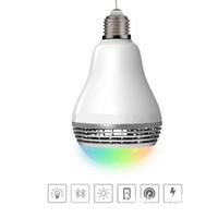 светодиодная лампа лампы светлый цвет меняется оптовых-Smart LED лампочка Беспроводная Bluetooth аудио колонки E27 LED RGB свет музыка лампа изменение цвета лампы через Wi-Fi App Control Free Shippin