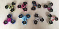 Wholesale Colorful PC Fidget Spinner Fingertip Gyro Torqbar Hand Spinners Brass Decompression Anxiety Handspinner Toys Camouflage With Pakcage
