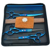 Wholesale Professional Grooming Supplies - 7.0Inch Purple Dragon Cutting Scissors & Thinning Scissors Curved Shears Professional Pet Grooming Scissors Set Pet & Dog Supplies, LZS0357