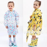 Wholesale Cloak Raincoat - enbihouse Children Rain Coat Cartoon Animals Hooded Raincoat Kids PU Rain Gear Cloak High Quality Free Shiping 283