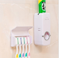 Wholesale Holder Toothbrush Stand - Touch Me Automatic Toothpaste Dispenser and 5 Set Toothbrush Holder Wall Mount Stand Toothpaste Squeezing Device Toothbrush Holder KKA1338