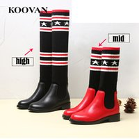Wholesale Girls Red Boots Size 12 - High Boots Socks Boots Mid Boots Size 26-40 Koovan Winter Autumn Genuine Leather Little Kids Shoes Soft Bottom Princess Shoes K076