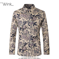 Wholesale Men Casual Shirts Long Sleeve Cotton Brand Stylish Slim Fit Male Floral Dress Shirts Male Plus Size M XL Camisa Masculina E223