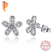 Wholesale Wedding Flower Earrings - BELAWANG 100% 925 Sterling Silver Earrings Darling Daisies Stud Earrings For Women Wedding Anniversary Jewelry Authentic Fashion Gift