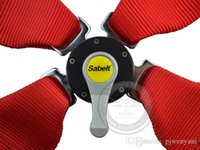 Wholesale Satefy Belt - Free shipping Sabelt 5 Point Red Seat Belt   Harness Homologation   Racing Satefy universal fitment in stock ready to ship