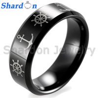 Wholesale Laser Tungsten - SHARDON 8mm Black Beveled Tungsten wedding rings comfort fit with Ships Wheel & Anchor laser design for men