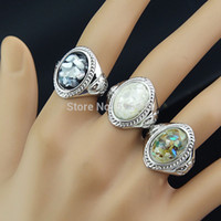 Wholesale Mens Pearls Jewelry - 2014 New Arrival Guaranteed 10pcs 100% Natural Shell Oval Vintage Silver Rings for Women Mens Wholesale Jewelry Lots A501