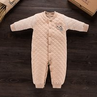 Wholesale Coverall Romper - 2017 Cotton Newborn Baby Romper Autumn Winter Warm Coverall Infant Jumpsuit One Piece for Toodler Baby Cute Clothes 0-2Y