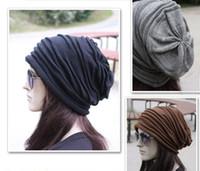 erkekler örme kafatası kepleri toptan satış-Moda Bere Kafatası Mens Womens Bahar Güz Kış Yün 4 Renkler Örme Fırfır Katmanlar Düz Şapka Kapaklar G582