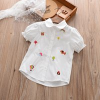 Wholesale Girls Balloon Top - Everweekend Girls Animal Balloon Embroidered Blouses Sweet Baby White Color Shirts Cute Kids Puff Sleeve Summer Tops