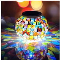 Vente en gros- LumiParty LED Mosaic Glass Ball Lampe Solar Powered Color Change Chaise de table solaire Waterproof Solar Light for Outdoor Decoration