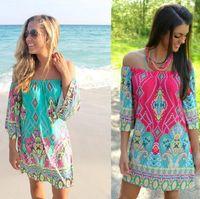 Wholesale ice silk dresses plus size - Summer Dress Floral Print Vintage Women Plus Size Milk Silk Casual Sexy Dress Ice Silk Print Short Beach Dress