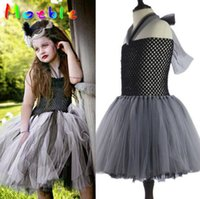 Wholesale Girls Party Dresses Europe - Halloween Europe and America style lace mesh patchwork girl dress Halloween Day Cosplay party dress