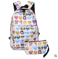 Wholesale Smiley Face Purses - Emoji Backpacks for High School Canvas Backpacks Smiley Emoji Face Printing School Bag For Teenagers Girls Shoulder Bag Purse Mochila 780