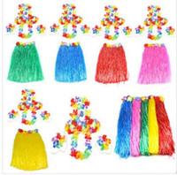 Wholesale Hawaiian Costumes Wholesale - 60cm Hawaiian Hula Grass Skirt 5 PCS  1SET Luau Fancy Dress Costume Party Beach Flower Garland Bracelet Head KKA2207