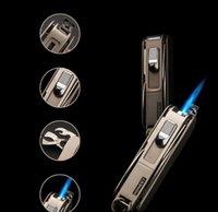 Wholesale Lighter Bottle Opener Wholesale - 2017 Multi-function Emissary Easy Slide Switch Jet Flame Butane Torch Multi-Tool Lighter Knife Bottle Opener for Cooking Welding Soldering