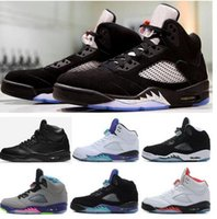 Wholesale Red Cdp - High Quality Retro 5 OG Black Metallic 3M Reflect Basketball Shoes Men 5s CDP Premium Triple Black White Cement Sneakers With Box