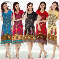 Wholesale Chinese Sexy Suit - Wholesale- NEW Sexy 5 colors Chinese Women's Cotton Rayon Robe Bath Gown Nightgown cash cow long sleepwear tree flower robe suit red blue