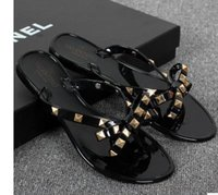 Wholesale Black Sew - New 2017 Woman Summer Sandals Rivets big bowknot Flip Flops Beach Sandalias Femininas Flat Jelly Designer Sandals Channel