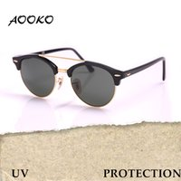 Barato Girassol-AOOKO mais novo Brand Club UV Proteção Óculos de sol Round Men Sun Glasses Mulheres Outdoor Retro Double Bridge Sunglass Gafas de sol 51mm