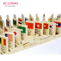 Wholesale Animal Dominoes - 100pcs set Wooden National Flag Domino Children Puzzle Funny Domino Game Learning Flags World Countries Educational Toys