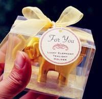 lembranças da vela venda por atacado-Sorte golden elephant vela tealight titular da porta do casamento presentes favores lembranças brindes atacado frete grátis 100pcs muito