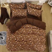 Wholesale Leopard Print Doona Cover - Wholesale- 100% Polyester Leopard Color Cotton Bed Linen Luxury bedclothes double size bed cover Doona duvet cover sheet bedding set